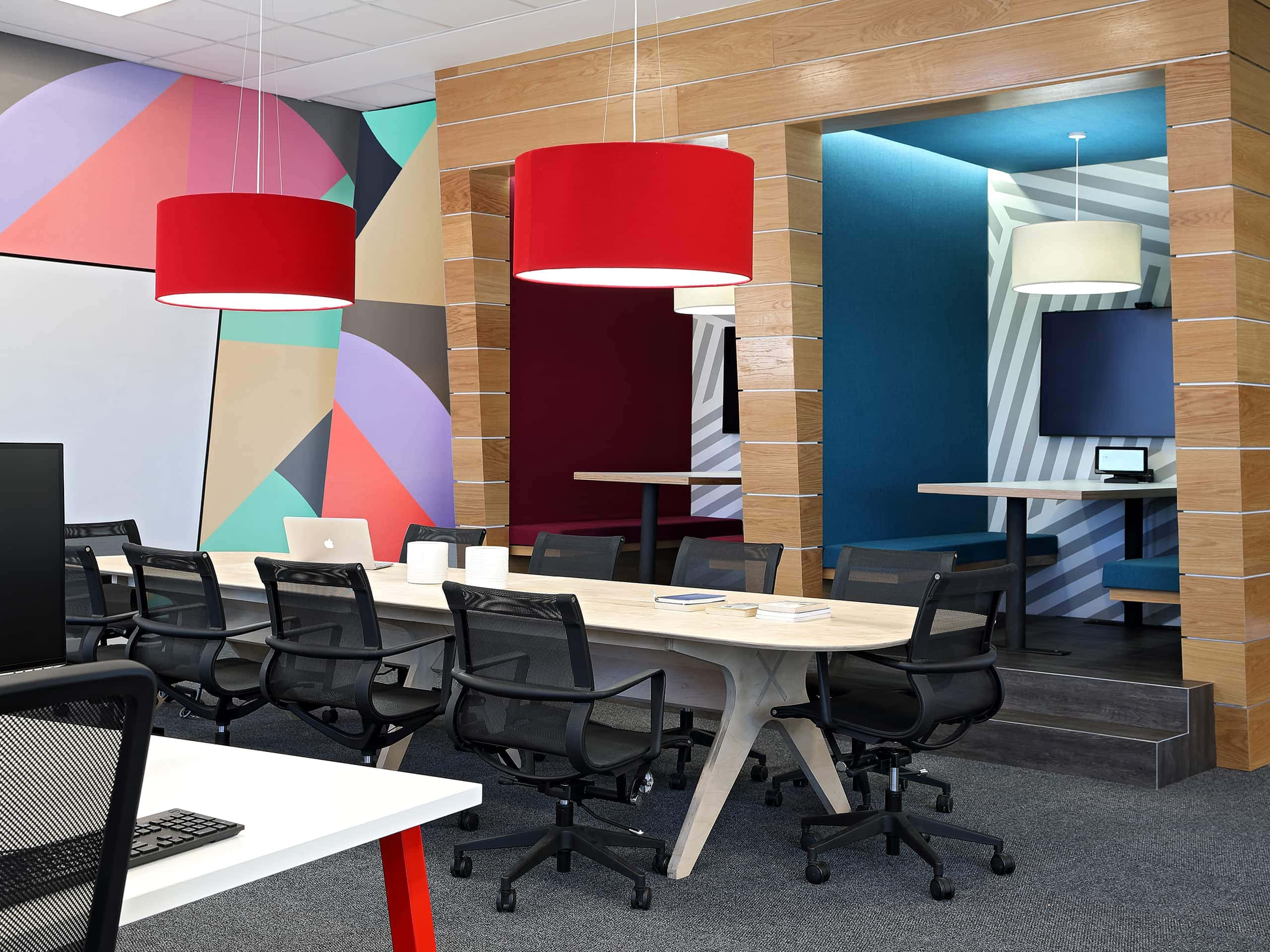 Colouful, geometric-patterned boardroom. Elsa Young Photography.