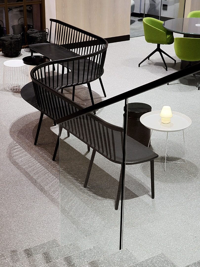 Lovely lightning-bolt shaped bench in a commercial office space. Photo by Elsa Young.