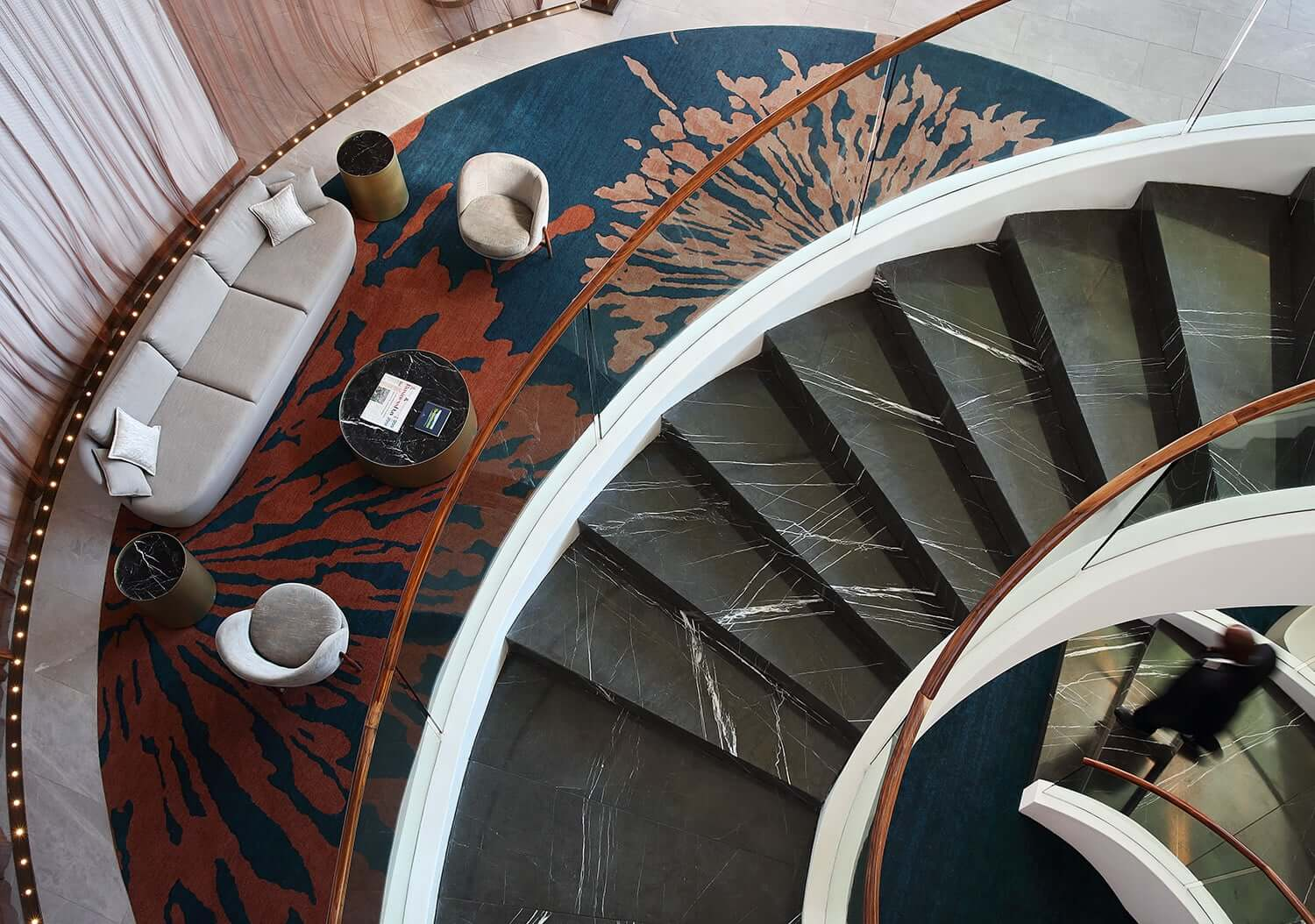 Sweeping spiral staircase in the lobby of the Houghton Hotel and Spa. Photo by Elsa Young.