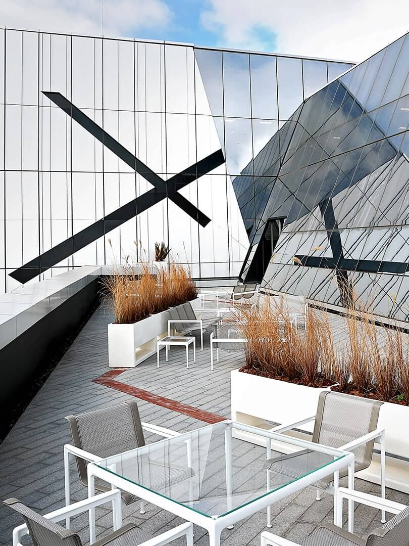 Rooftop terrace of a modern office buidling. Photo by Elsa Young.
