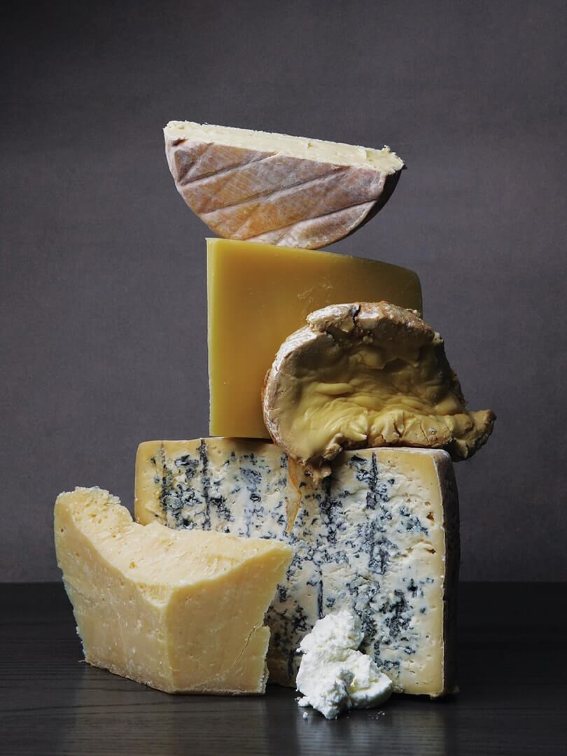 A tower of wonderful cheeses. Elsa Young Photography.