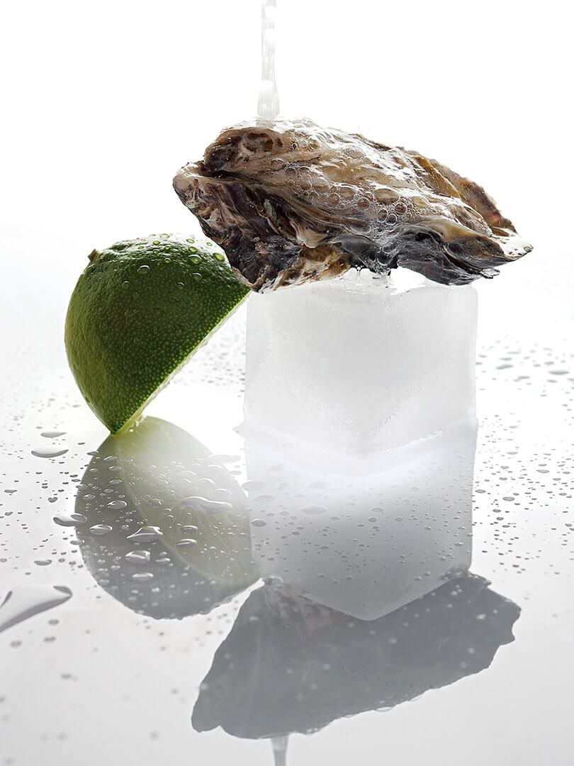 An oyster on ice with lime at The Saxon Hotel.