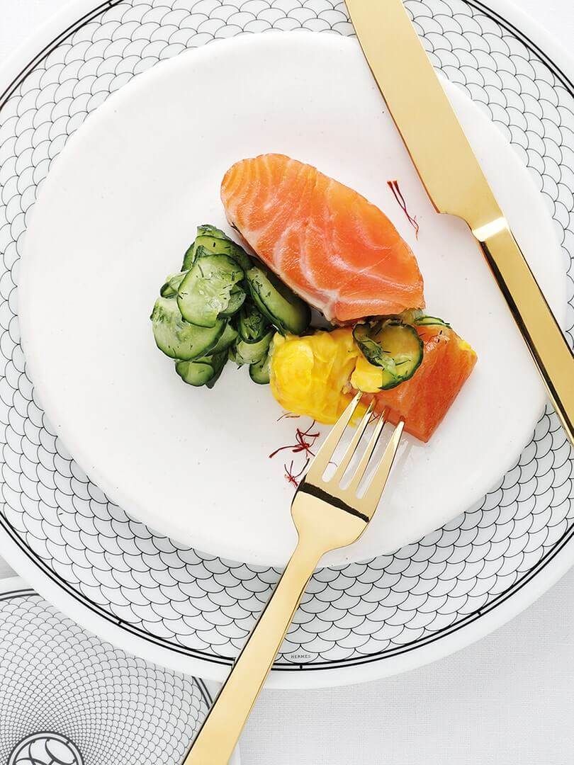 A plate of cured salmon at Farro Restaurant. Photograph by Elsa Young.