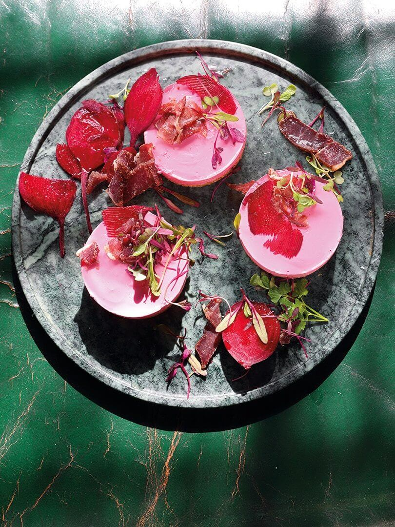 A beautiful plate of beet terrine. Photo by Elsa Young.
