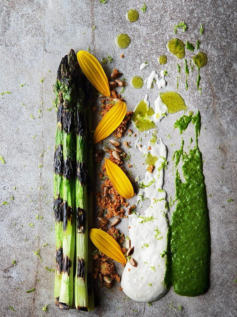 Chargrilled asparagus starter at Marble restaurant, Johannesburg. Photo by Elsa Young.