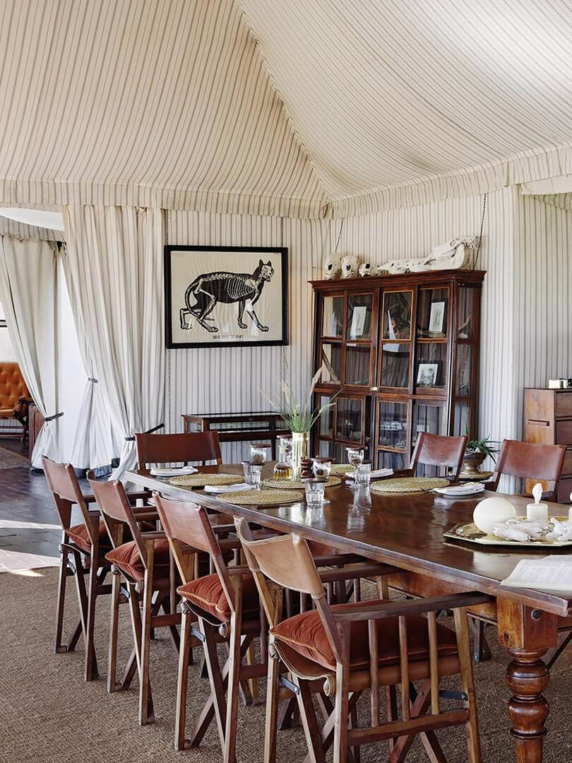 Campaign-style tented dining area at Natural Selection's San Camp, Botswana. Photo by Elsa Young.