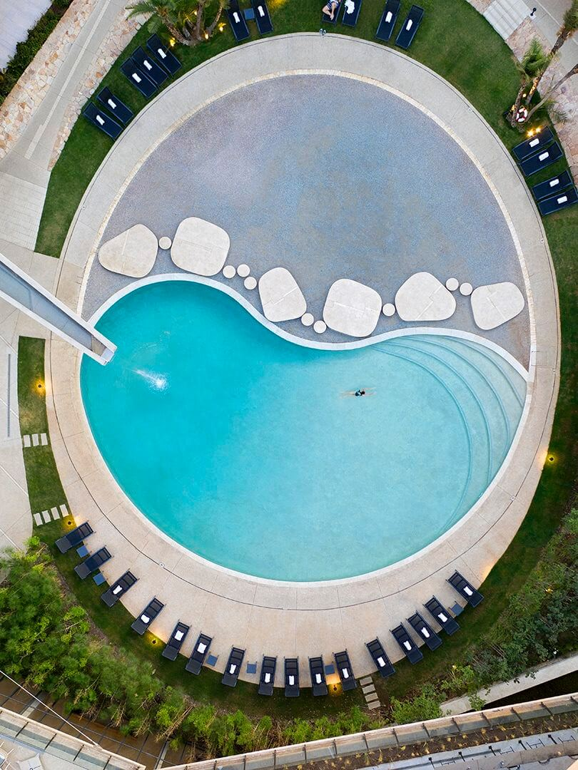 Drone view of The Houghton Hotel and Spa's oval swimming pool. Photo by Elsa Young.