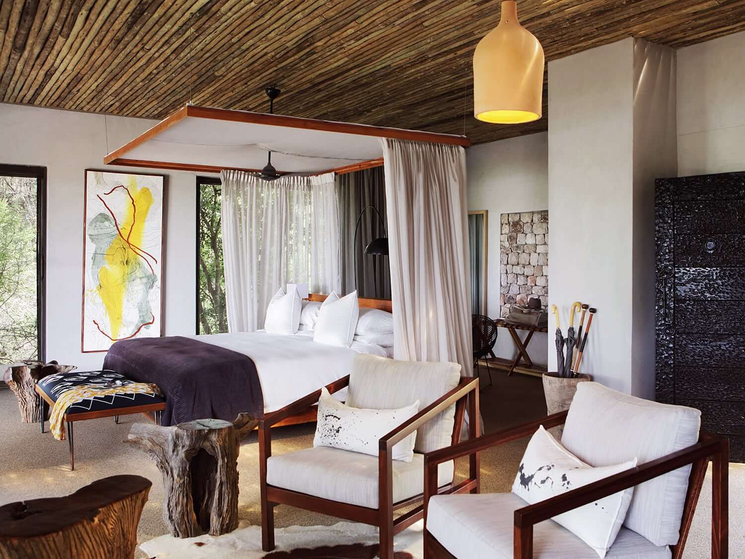 Interior of a luxurious suite at Matetsi Lodge, Victoria falls. Photo by Elsa Young.