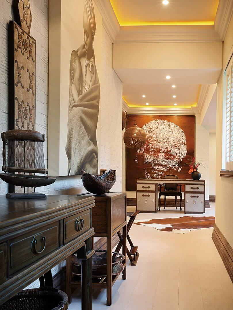 Lavish passage inspired by Africa at The Saxon Hotel in Johannesburg.