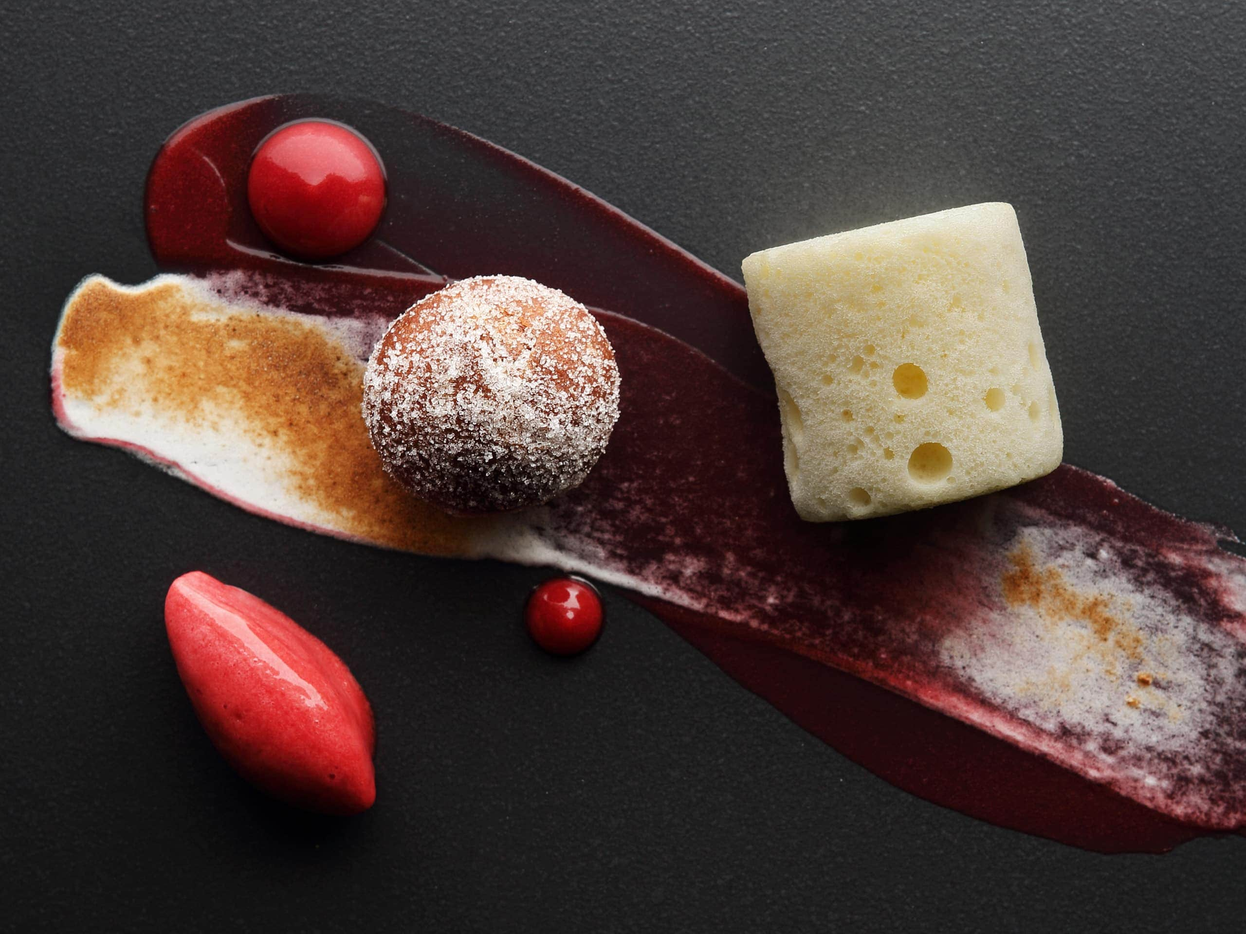 A dessert of raspberry with lemon sabayon. Photo by Elsa Young.