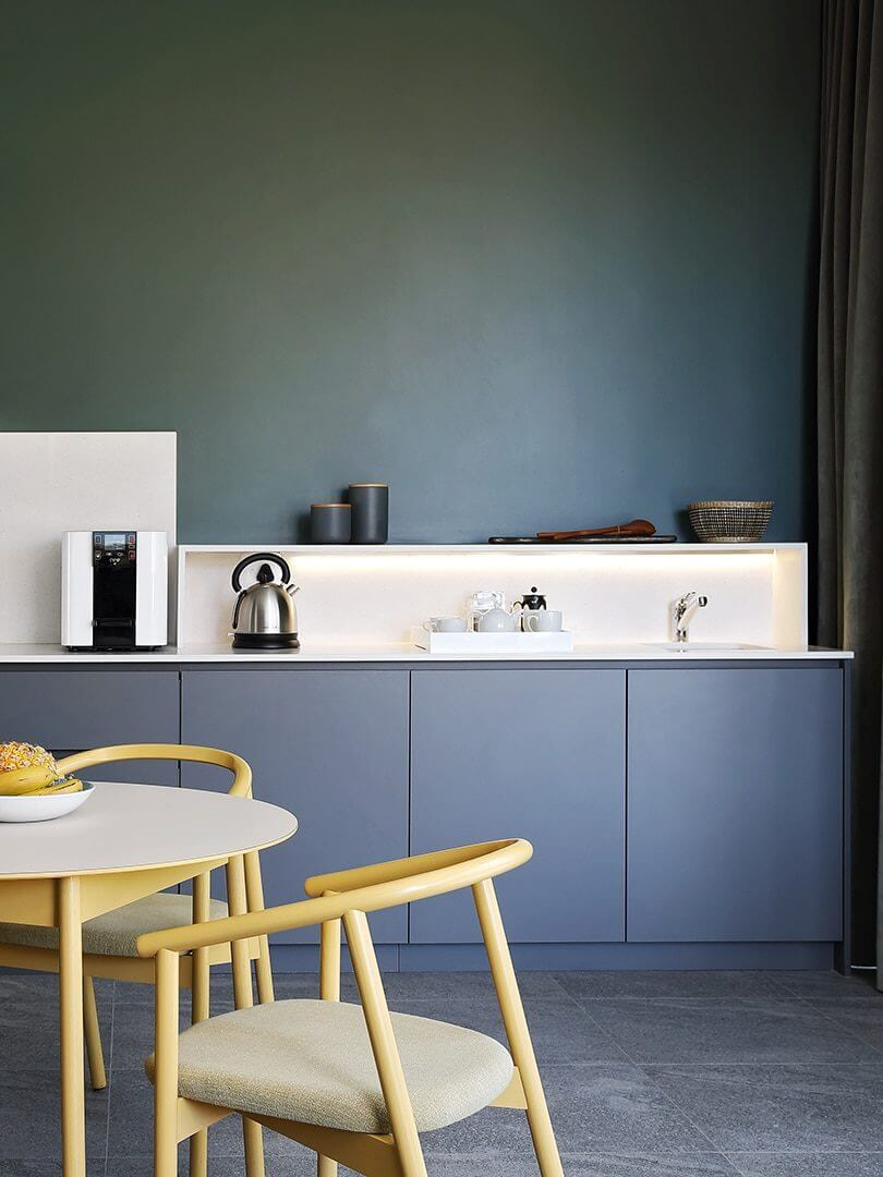 In-room kitchenette at Home Suite Hotel. Photograph by Elsa Young.